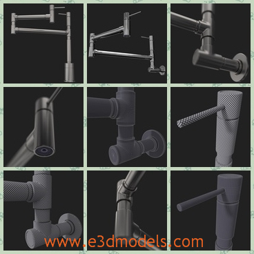 3d model the water faucet in the kitchen - This is a 3d model of the water faucet in the kitchen,which is solid and made in high quality.The tap can be seen from here.