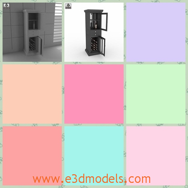3d model the wine cabinet - This is a 3d model of the wine cabinet,which is big enough to store wines and the shape looks like the fridge.