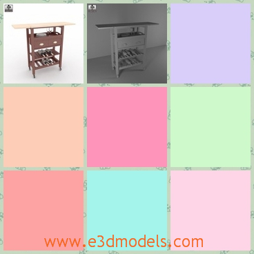3d model the wine serving cart with drawers - This is a 3d model of the wine serving cart with drawers,which is spacious and commodious.The model is convenient in the restaurant.