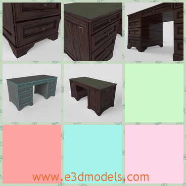 3d model the wooden and antique desk - This is a 3d model of the wooden desk,which is made of the antique style.The model is saved from the Alexander times.