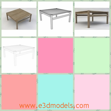 3d model the wooden coffee table - This is a 3d model of the wooden coffee table,which is made with four legs and the shape is modern and special.