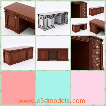 3d model the wooden desk - This is a 3d model of the wooden desk,which is colored and it is classical.The model is large and heavy.