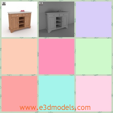 3d model the wooden desk in the kitchen - This is a 3d model of the wooden desk,which ismade in ance with the proportions and sizes of real furniture.