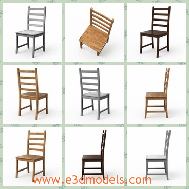 3d model the wooden dining chair - This is a 3d model of the wooden dining chair,which exists in the real world.The chair has a hollow back with it,which is a little tilted.