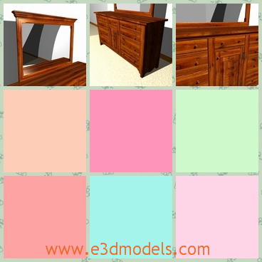 3d model the wooden dresser with a mirror - This is a 3d model of the wooden dresser with a mirror,which is placed besides the wall and the mirror is big and tidy.