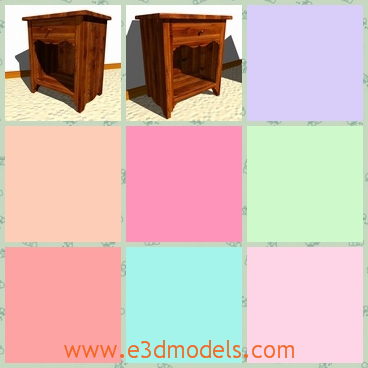 3d model the wooden nightstand - This is a 3d model of the wooden nightstand,which is placed near the bed and it was made with the classical style.
