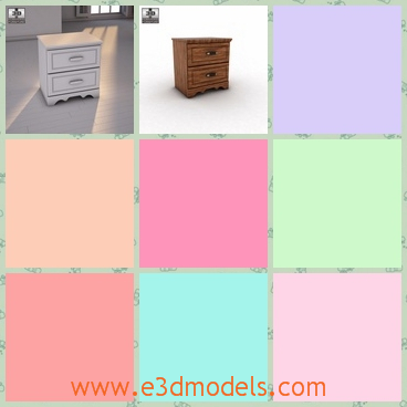 3d model the wooden nightstand - This is a 3d model of the wooden nightstand,which is short and made with fine surface.The model has two drawers.