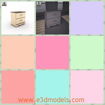 """3d model the wooden nightstand - This is a 3d model of the wooden nighstand,which is the bedside in the room.The &quotOlivia Bay"""" bedroom collection features warm traditional accents."""