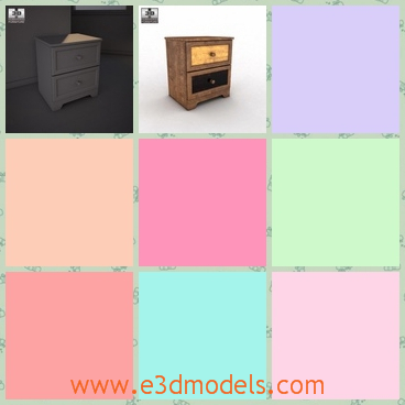 3d model the wooden nightstand with drawers - This is a 3d model of the wooden nightstand with drawers,which is placed in the bedroom and stuffs like the phone,the watch,the cup can put on it.