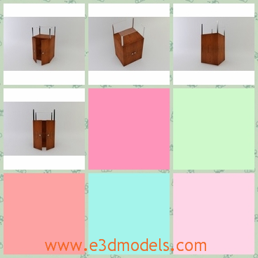 3d model the wooden stand - This is a 3d model of the wooden stand,which is the storage for stuffs and the legs are thin.