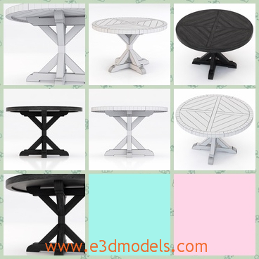 3d model the wooden table - This is a 3d model of the wooden table,which is round with the fine sculptures on the table.