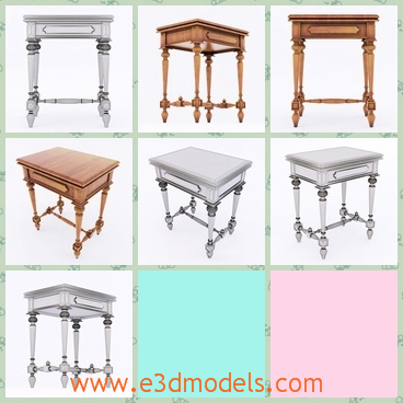 3d model the wooden table in ancient style - This is a 3d model of the wooden table in ancient style,which is the outdated style and the surface is smooth and the drawer is big enough.