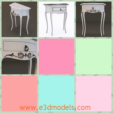 3d model the wooden table with four legs - This is a 3d model of the wooden table with four legs,which is created with fine decorations.The model is made in antique style.