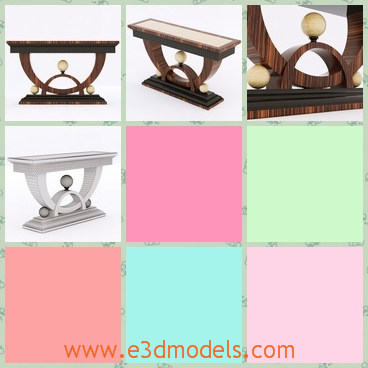 3d model the wooden table with three balls - This is a 3d model of the wooden table with three balls,which are placed on the lower part of the table and the surface is smooth.
