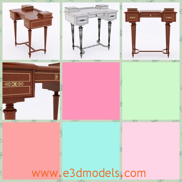 3d model the writing desk made of wood - This is a 3d model of the writing desk,which is made of wood and in the ancient style.The model is high and the legs of the table is long and stable.