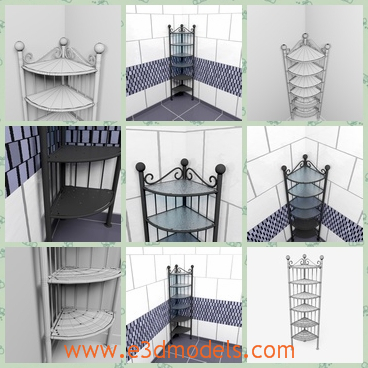 3d models of corner shelves - There are some 3d models which are about several beautifully designed corner shelves. These shelves have many layers and are very tall.