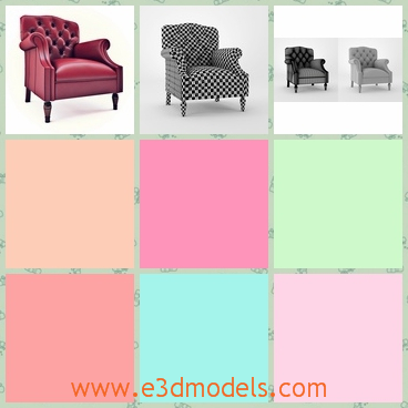 3d models of Lancaster Burgundy chairs - These 3d models are about beautifully crafted traditonal chairs with buttoned backs and they are upholstered in Burgundy leather. These chairs have short wooden legs.
