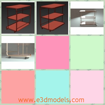 3d models of rolling cart glass shelves - This is a small hall table, intended as varied as putting the TV, eating on it or for decoration. It has wheels, making it more usable and multipurpose.All the components of the model are grouped.It has three shelves with red surfaces.