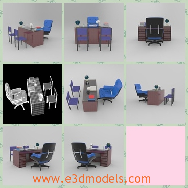 3d models office tables - In these 3d models we can see several office tables and chairs.  Some office tables have brown color and the chairs are black or blue.