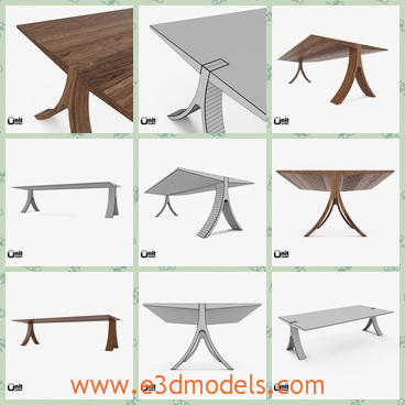 3d modelthe wooden table - This is a 3d model of the wooden table,which is made with special legs and the table is made with walnuts materials.