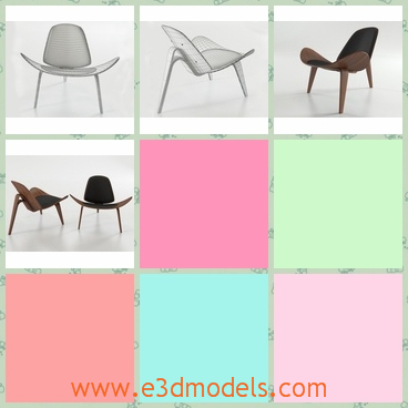 3d modern the shell chair with three legs - This is a 3d model of the shell chair with three legs,which is known as the Smiling Chair, from the famous Danish designer Hans Wegner.