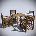 3d model the bamboo table and chairs