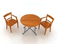 3d model the wooden chair and table