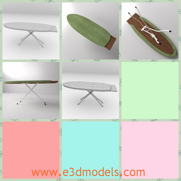 3d model an ironing board in an oval shape - This is a 3d model of an ironing board in an oval shape,which is linked to the legs.The surface of the table is  light green.