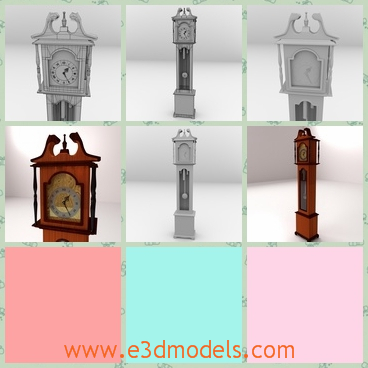 3d model grandfather clock - This is a 3d model of a Grandfather Clock,which is tall and antique.The decoration on the top is so peculiar and the brown color looks more attractive.