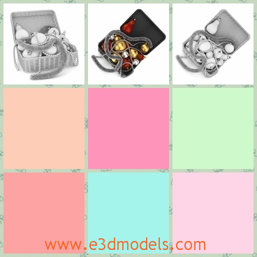 3d model of a basket of Christmas ornaments - This 3d model is about a basket which is filled with many Christmas ornaments which include golden balls and sliver stripes.