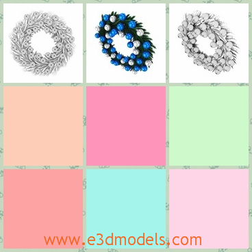 3d model of a Christmas wreath - There is a 3d model which is about a Christmas wreath and on this wreath we can see many small balls with shiny blue surfaces.