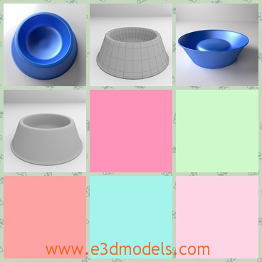 3d model of a dog bowl - This is a 3d model about a dog bowl. The dog bowl has blue color and it is made of light plastic with an indentation in the center.It has a big base which makes it very steady.