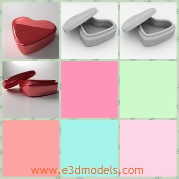 3d model of a heart-shaped box - This is a 3d model which is about a heart-shaped box which is made of iron and it is painted partly pink and partly brown.