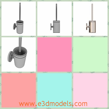 3d model of a toilet brush holder - This is a 3d model which is about a Hansgrohe Logis toilet brush holder. This toilet holder has a cylindrical box and a controller on the box.