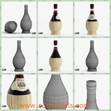 3d model of Chianti wine bottle - There is a 3d model which is about a Chianti wine bottle. This is a big bottle which is large on the lower part and half of it is golden.