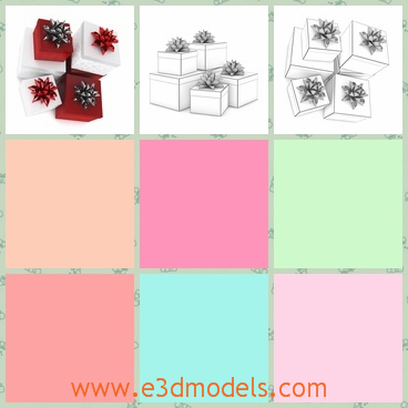 3d model of Christmas presents - Here we have a 3d model which is about some Christmas presents. Two of them have white boxex while the other two have red boxes.