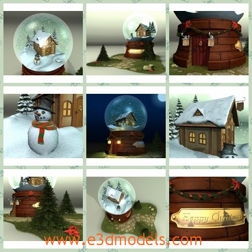3d model of Christmas snow globe - There is a 3d model which is about a Christmas snow globe which has a brown base and inside the globe we can see a small house and a snowman.