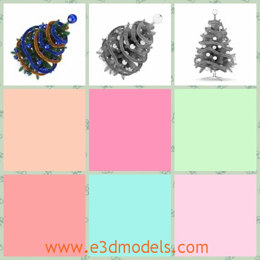 3d model of Christmas tree - This 3d model is about a small Christmas tree which has thick green needle-like leaves and along it we can see blue and brown stripes and shiny balls.