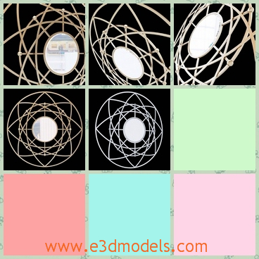 3d model of Cyan design robles mirror - There we can see a 3d model about a Cyan design robles mirror. This robles mirror has a complex frame and an oval mirror in the center.