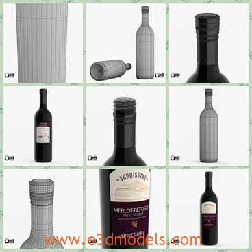 3d model of Merlot Refosco red wine bottle - There is a 3d model about a Merlot Refosco red wine bottle. This model and previews are created in 3ds max 2012 with vray 2.2.