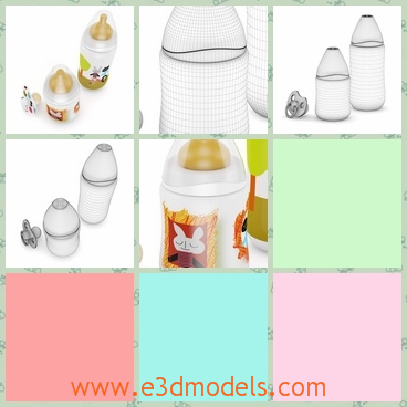 3d model of nursing bottle and pacifier - This 3d model is about a nursing bottle and a pacifier. This nursing bottle is made of transperant materials and it has a cute label with a cartoon character on it.
