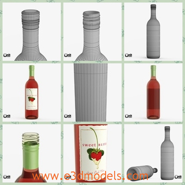 3d model of pink wine bottle - This 3d model is about a pink wine bottle which has a white label. On this label we can see a red mark.