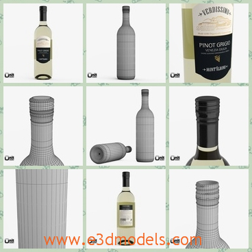 3d model of Pinot Grigio white wine bottle - There is a 3d model which is about the Pinot Grigio white wine bottle. This is a realistic, high quality model of a bottle of wine which has a light yellow color.