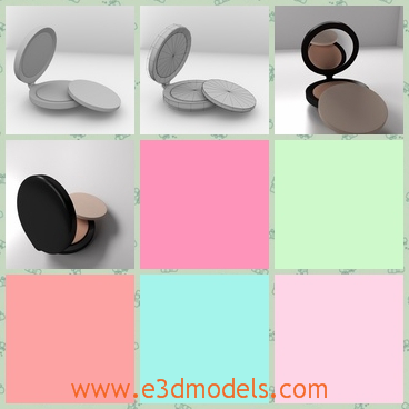 3d model of powder compact - There is a 3d model which is about a powder compact. Thies powder compact includes a small plastic black box, a powder puff and some powder.