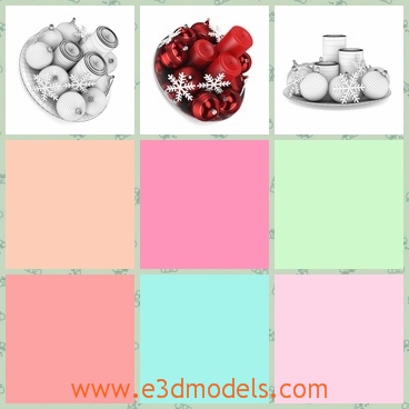 3d model of red Christmas table decoration - Here we have a 3d model which is about Christmas decoration. On the sliver plate we can see big red candles and shiny balls in red color.