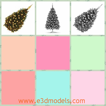 3d model of shiny Christmas tree - This 3d model is about a shiny Christmas tree. This tree has a triangle shape and along it we can see many golden balls and a sharp golden top.