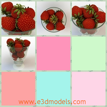 3d model of strawberries in glass bowl - This is a 3d model which is about some fresh strawberries in a glass bowl. These straeberries are juicy and red and they are very attractive.