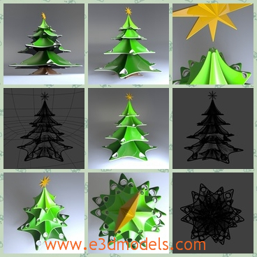 3d model of stylish Christmas tree - This 3d model is about a stylish Christmas tree created with Moi3d nurbs software. On the top of this Christmas tree we can see a big yellow star.