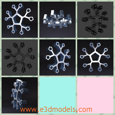 3d model of stylized snowflake - This 3d model is about a stylized snowflake. This snowflake is made of steel and it can be used as Christmas decoration.