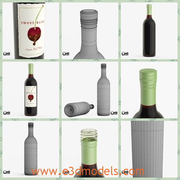 3d model of two red wine bottles - This 3d model is about two red wine bottles which have a big white label on the bottle and the bottle is of black color.